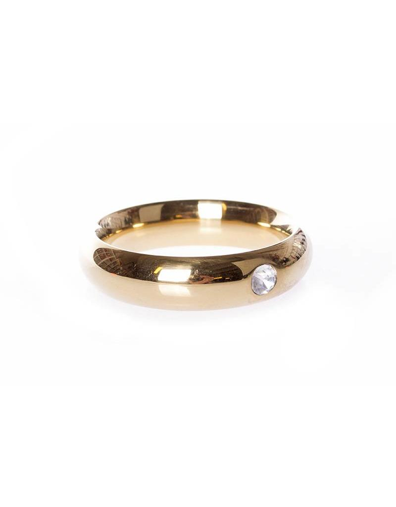 KIOTOS Steel Gold Donut Cockring with Jewel - 40 mm