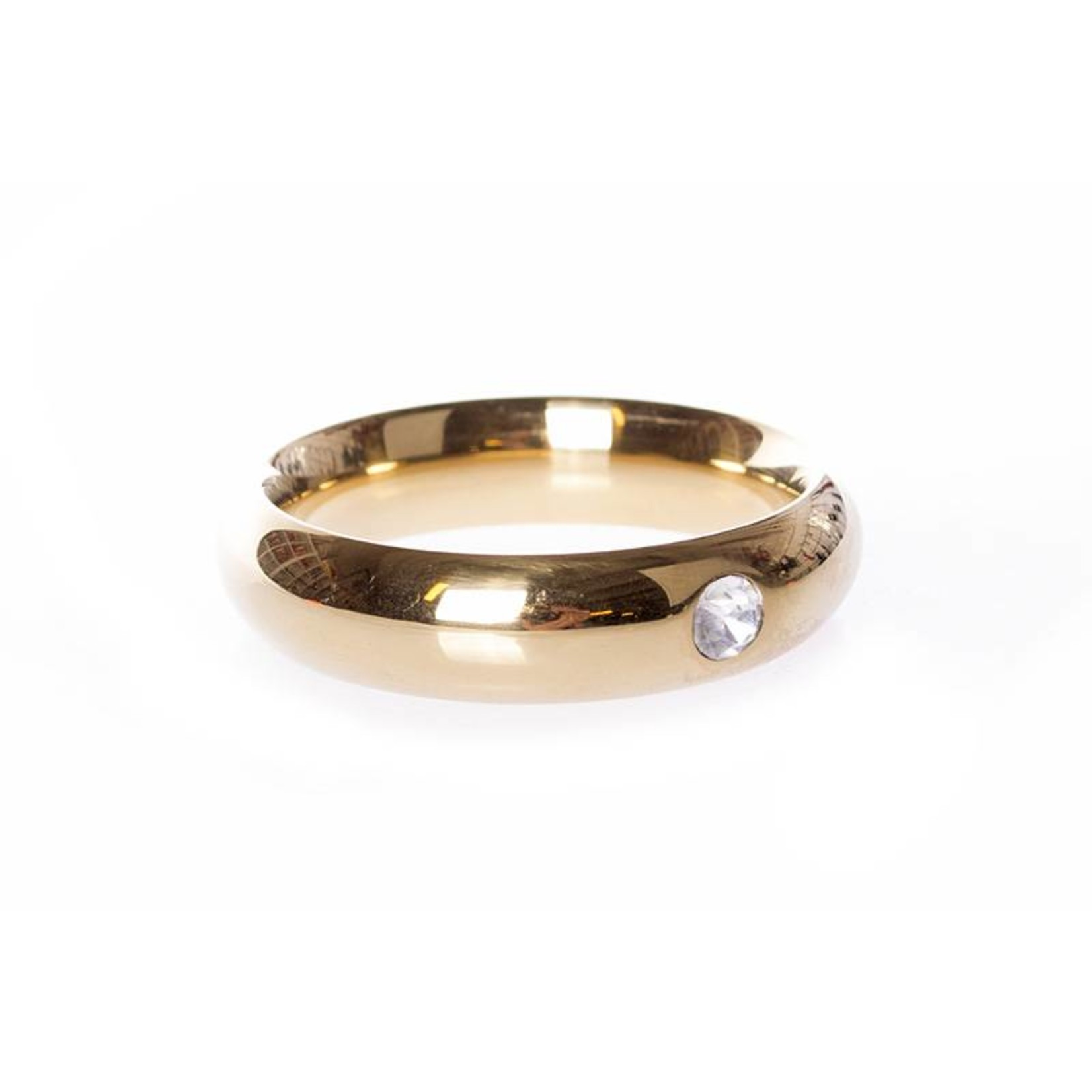 KIOTOS Steel Gold Donut Cockring with Jewel - 45 mm