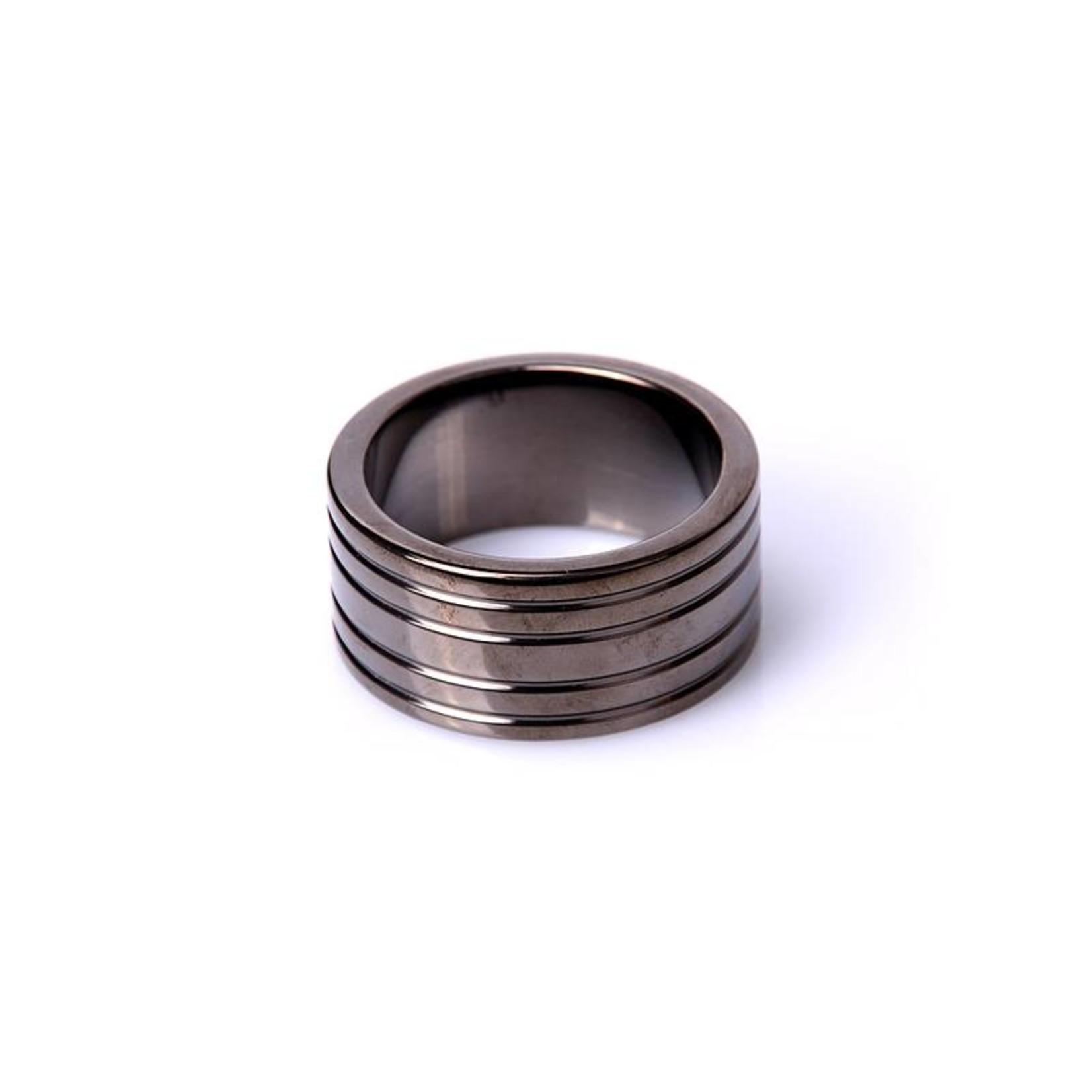 KIOTOS Steel Black Steel Cockring Ribbed - 45 mm