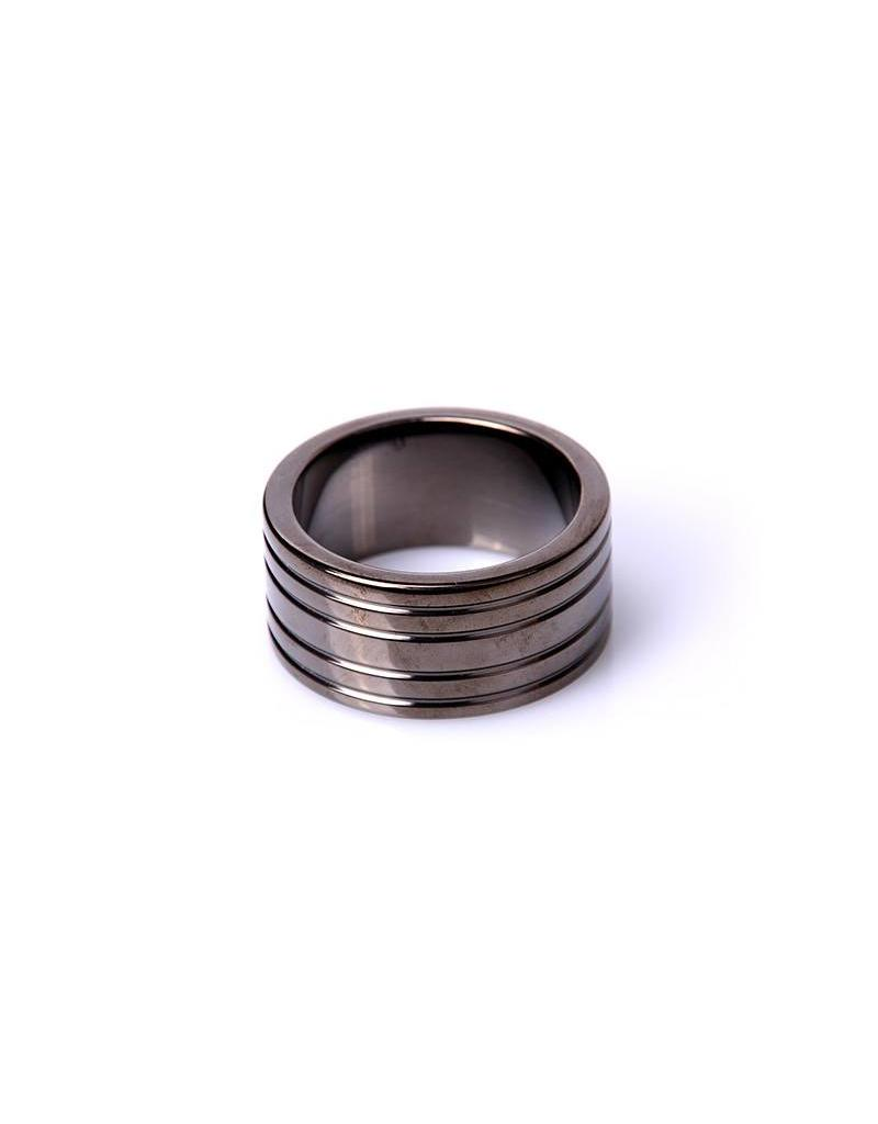KIOTOS Steel Black Steel Cockring Ribbed - 50 mm