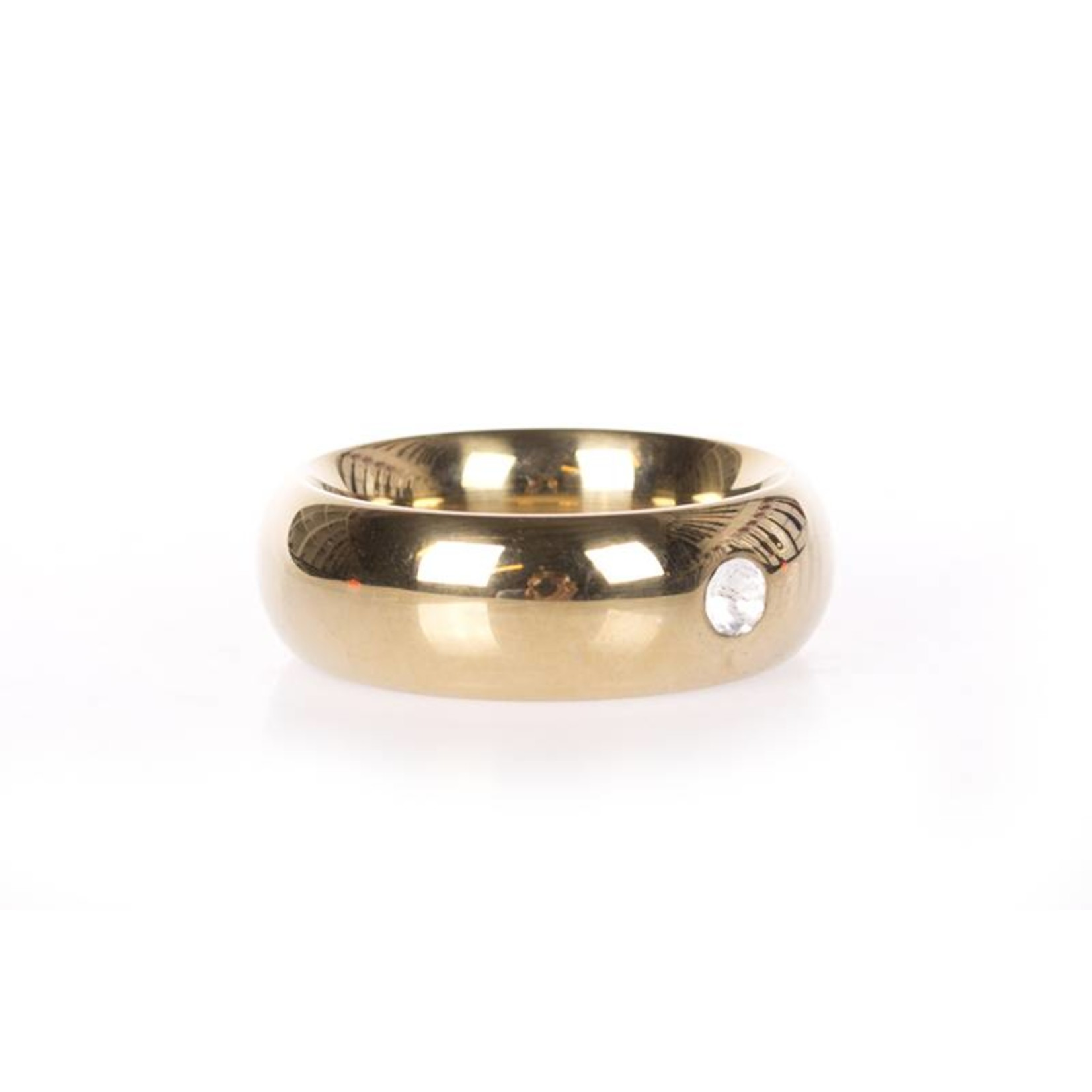 KIOTOS Steel Gold Donut Cockring with Jewel - Thick - 45 mm