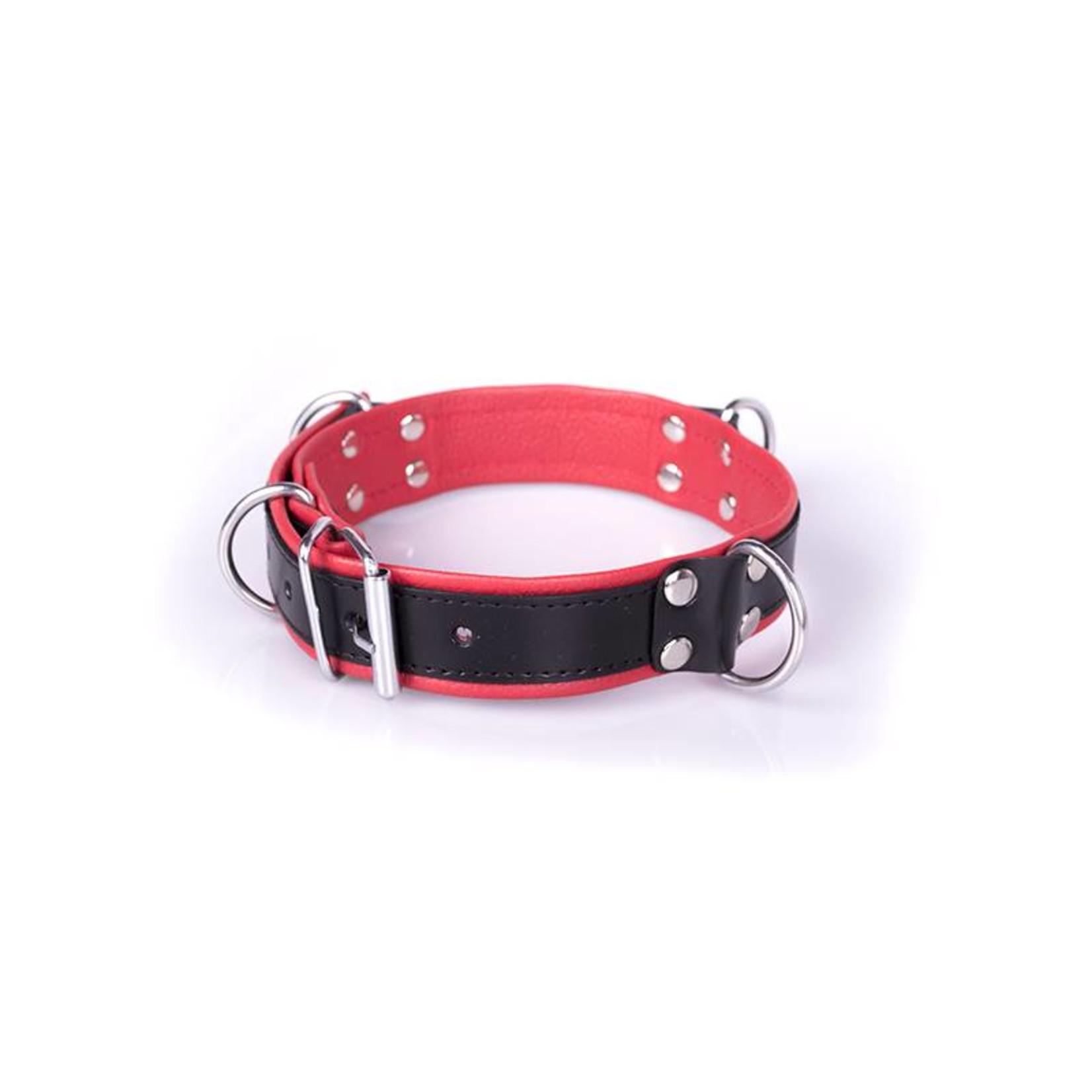 KIOTOS Steel Deluxe Bondage Collar - Black & Red
