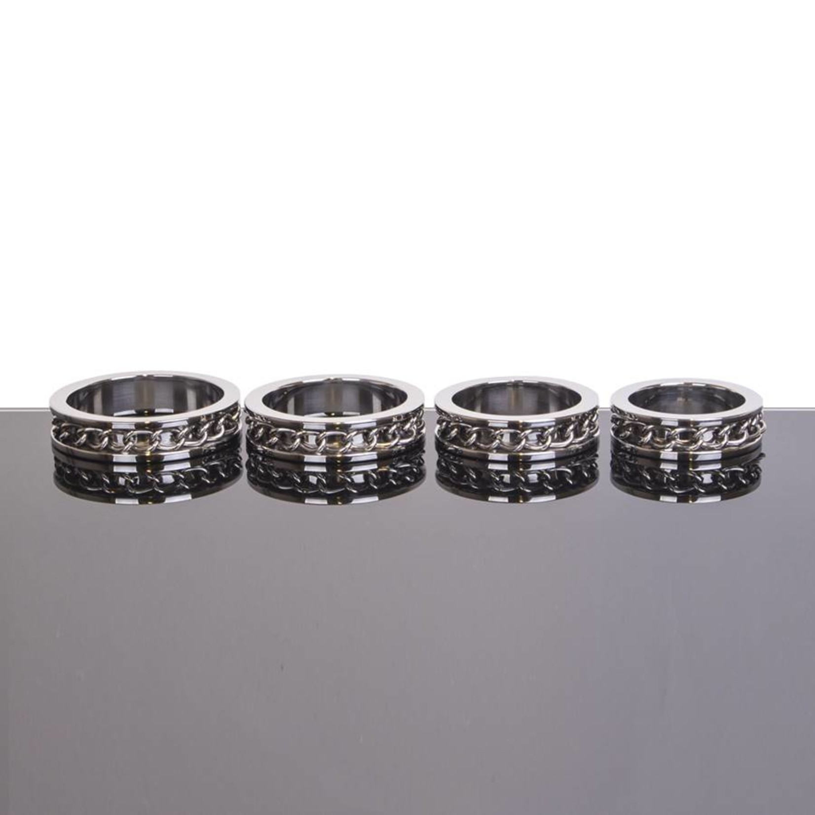 KIOTOS Steel Chain Link Inlay Cock Ring - Stainless Steel - 50 mm