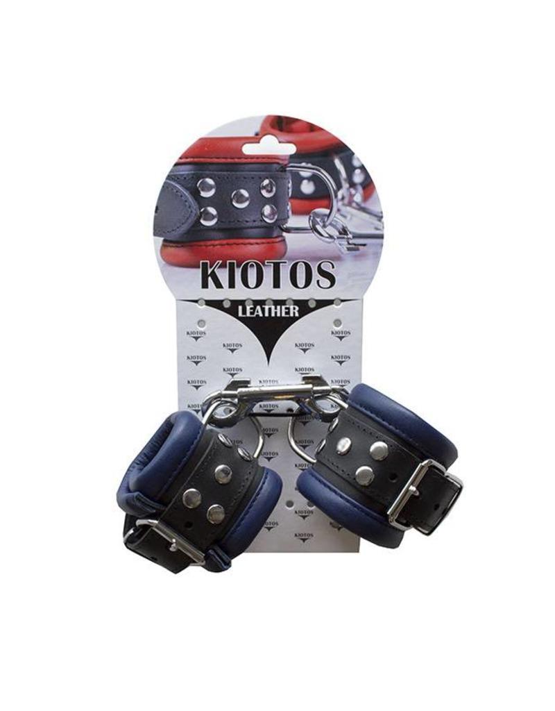 KIOTOS Leather Handcuffs 6,5 cm - Blue