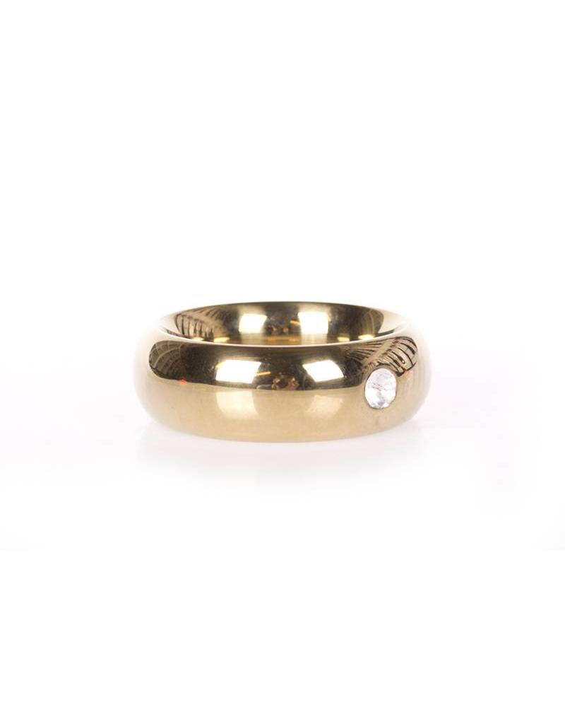 KIOTOS Steel Gold Donut Cockring with Jewel - Thick - 40 mm