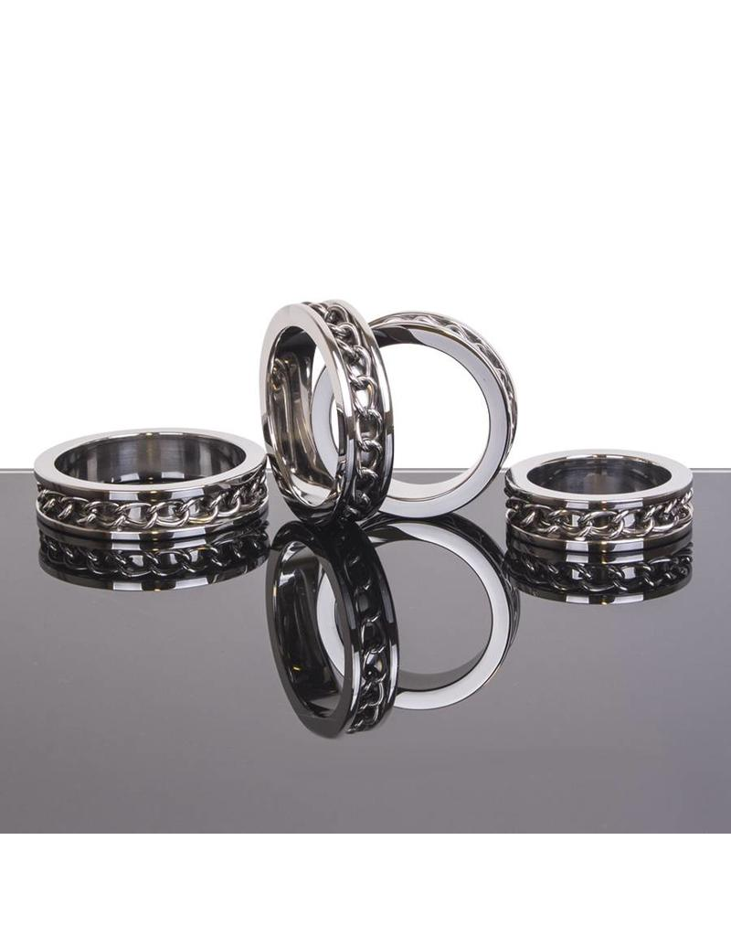 KIOTOS Steel Chain Link Inlay Cock Ring - Stainless Steel - 55 mm