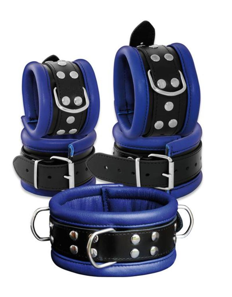 KIOTOS Leather Collar 6,5 cm - Blue