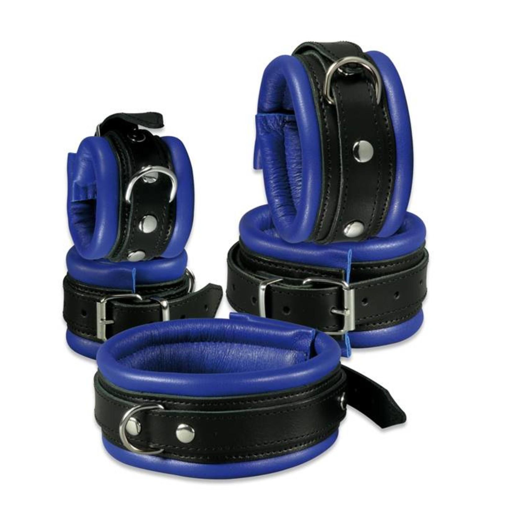 KIOTOS Leather Handcuffs 5 cm - Blue