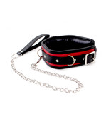 KIOTOS Leather Collar Black & Red with Leash