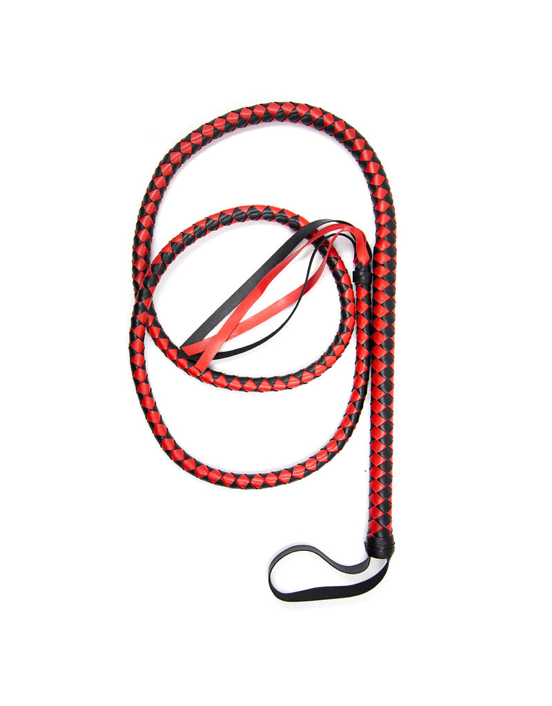 KIOTOS Leather Long Black & Red Whip