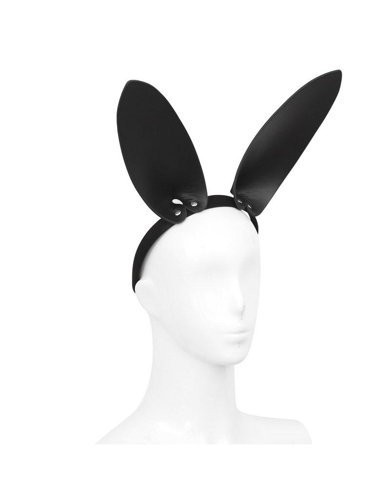 KIOTOS Leather Black Leather Bunny Ears Headband