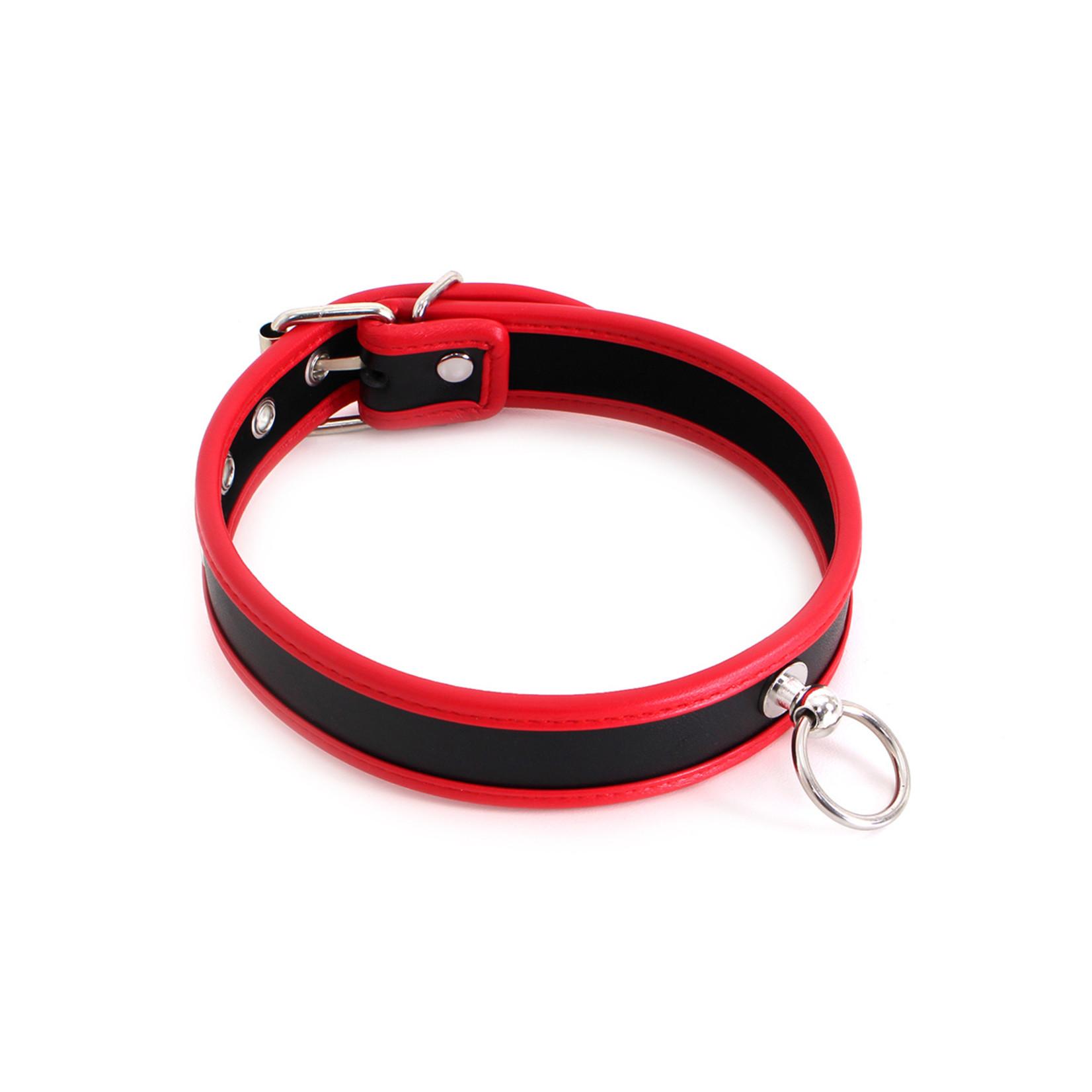 KIOTOS Leather Budget Collar Zwart & Rood