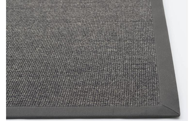 Sisal Teppich Premium 24 Anthrazit mit Bordüre aus Baumwolle