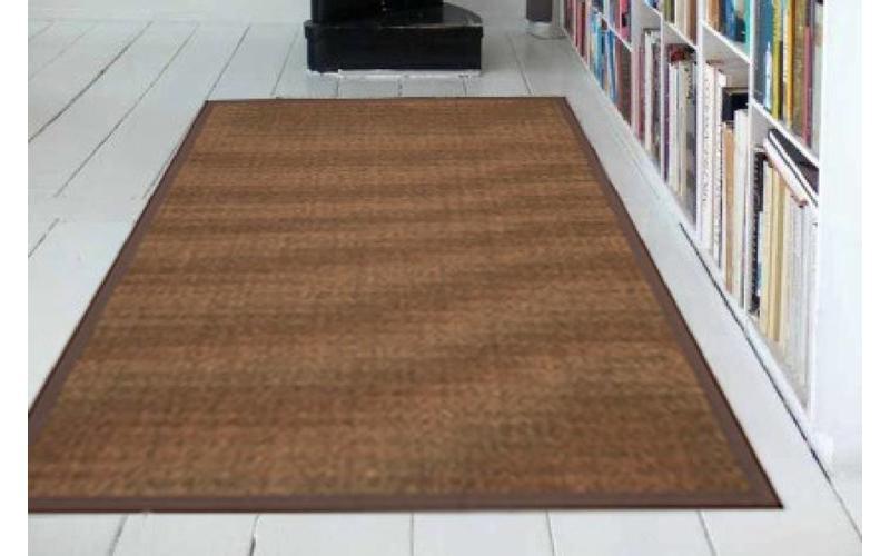 Sisal Teppich Premium 18 Braun mit Bordüre aus Baumwolle