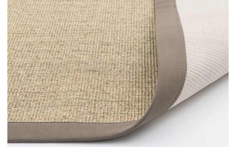 Sisal Teppich Premium 13 Beige mit Bordüre aus Baumwolle