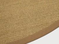 Sisal Teppich Premium 15 Braun/Orange rund mit hochwertiger Bordüre aus Baumwolle