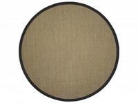 Sisal Teppich Premium 16 Natur rund mit hochwertiger Bordüre aus Baumwolle