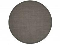 Sisal Teppich Premium 24 Anthrazit rund mit hochwertiger Bordüre aus Baumwolle
