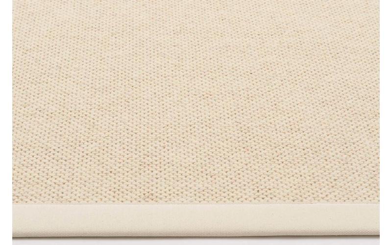 Wollteppich Castle 11 Weiß mit Bordüre aus Baumwolle