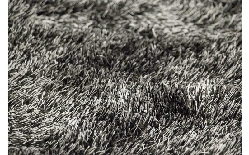 Hochflor Teppich Chester 24 Schwarz Mix rund