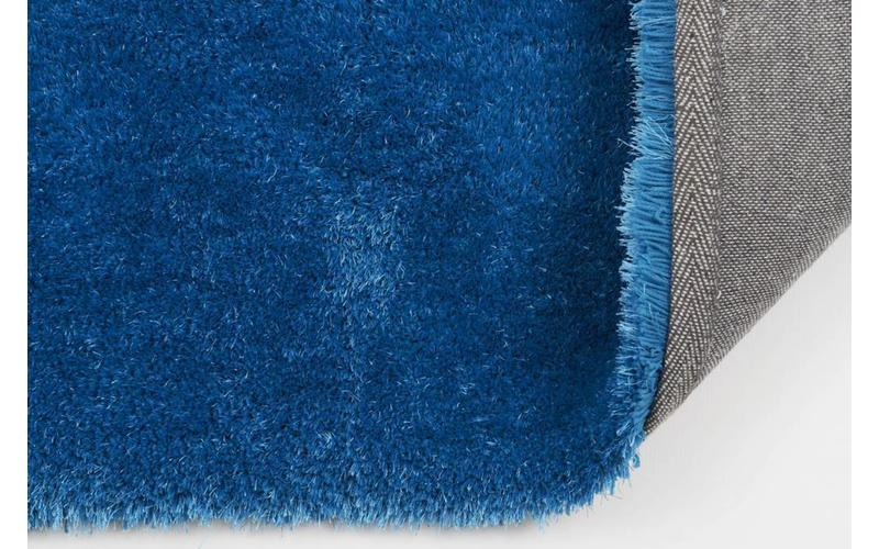 Hochflor Teppich Ross rund 33 Blau