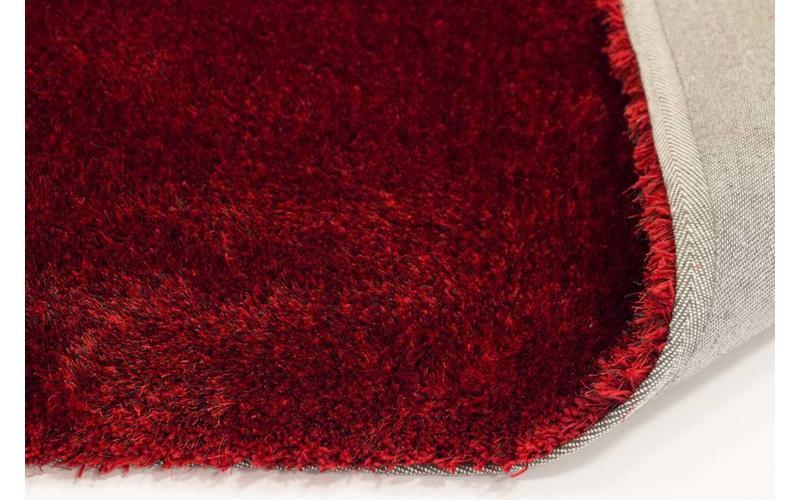 Hochflor Teppich Ross rund 44 Rot Mix