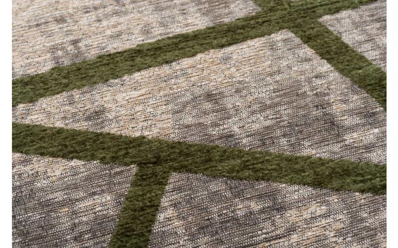 Hailey 52 - Schöner Teppich mit geometrischem Design in Grau/Dunkelgrün