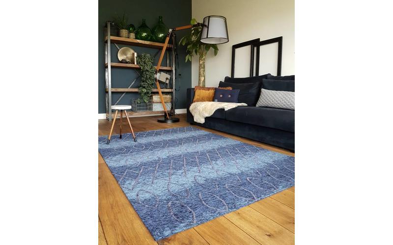 Bido 34 - Schöner Design Teppich in Blau / Taupe Farbmix