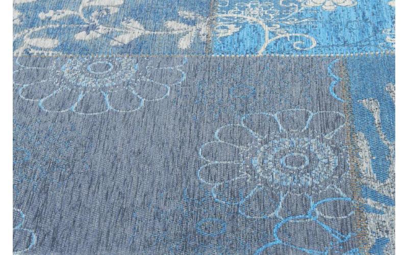 Chatel 34 - Patchwork Teppich mit schönem Blumenmuster in Blau