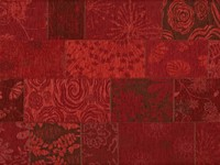Chatel 45 - Patchwork Teppich mit schönem Blumenmuster in Rot