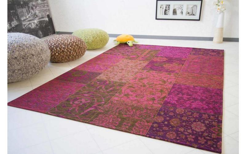 Chatel 48 - Patchwork Teppich mit schönem Blumenmuster in Lila