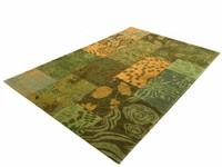 Chatel 54 - Patchwork Teppich mit schönem Blumenmuster in Grün