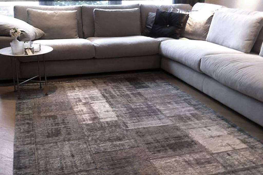 Vintage Patchwork Teppich In Grau Braun Floorpassion De