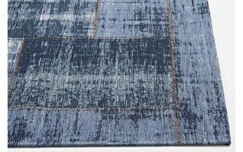Enzo 36 - Vintage Patchwork Teppich in Dunkelblau