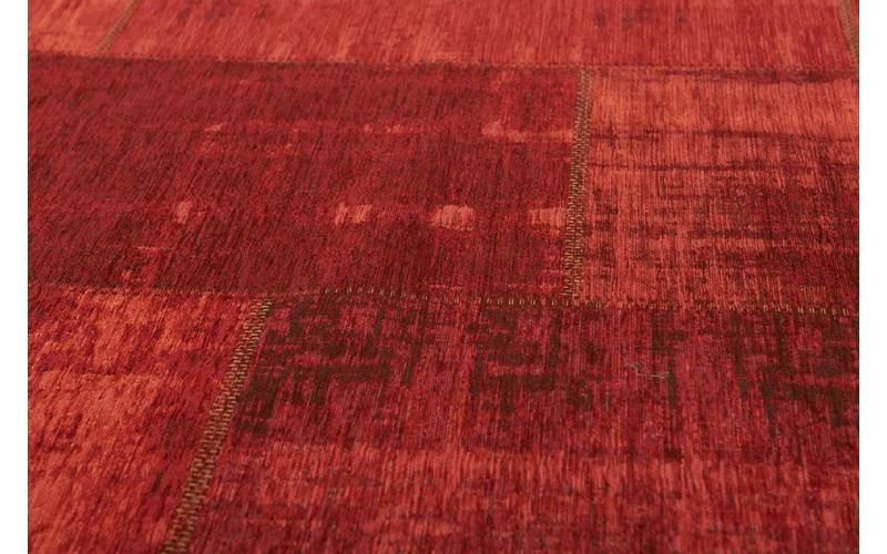 Enzo 45 - Vintage Patchwork Teppich in Dunkelrot