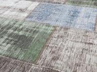 Enzo 59 - Vintage Patchwork Teppich in Braun/Grün