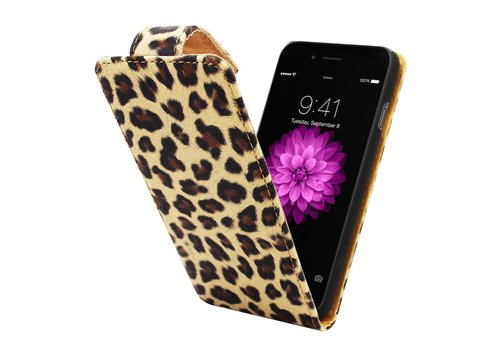 iPhone 6 Plus Hoesje Luipaard Print - Flipcover Business Fit Case