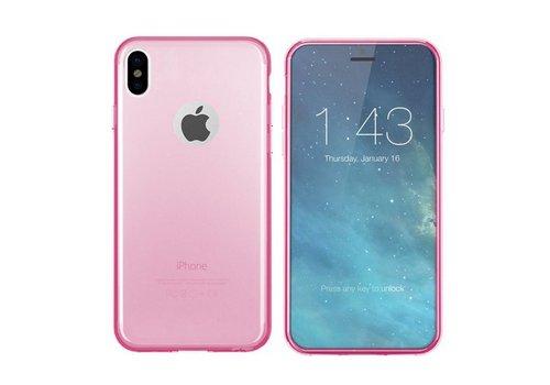iPhone X en Xs Hoesje Transparant Roze CoolSkin3T
