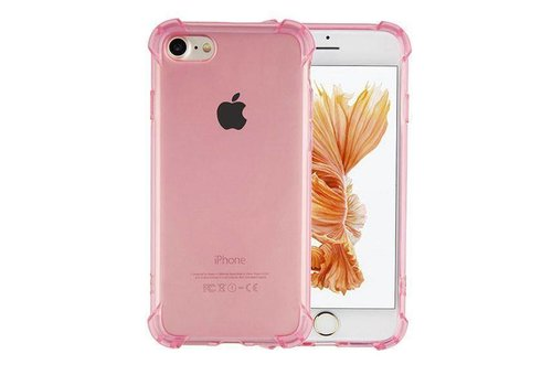 iPhone 6 en 6S Hoesje Transparant Roze - Shockproof