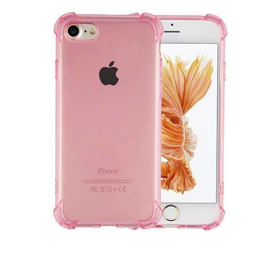 iPhone 8 Plus en 7 Plus Hoesje Transparant Roze - Shockproof