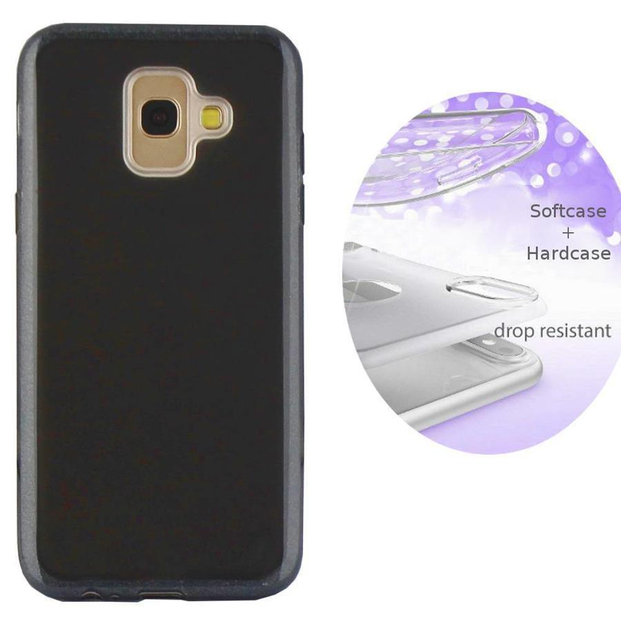 BackCover Layer TPU + PC voor Samsung J6 2018 Zwart