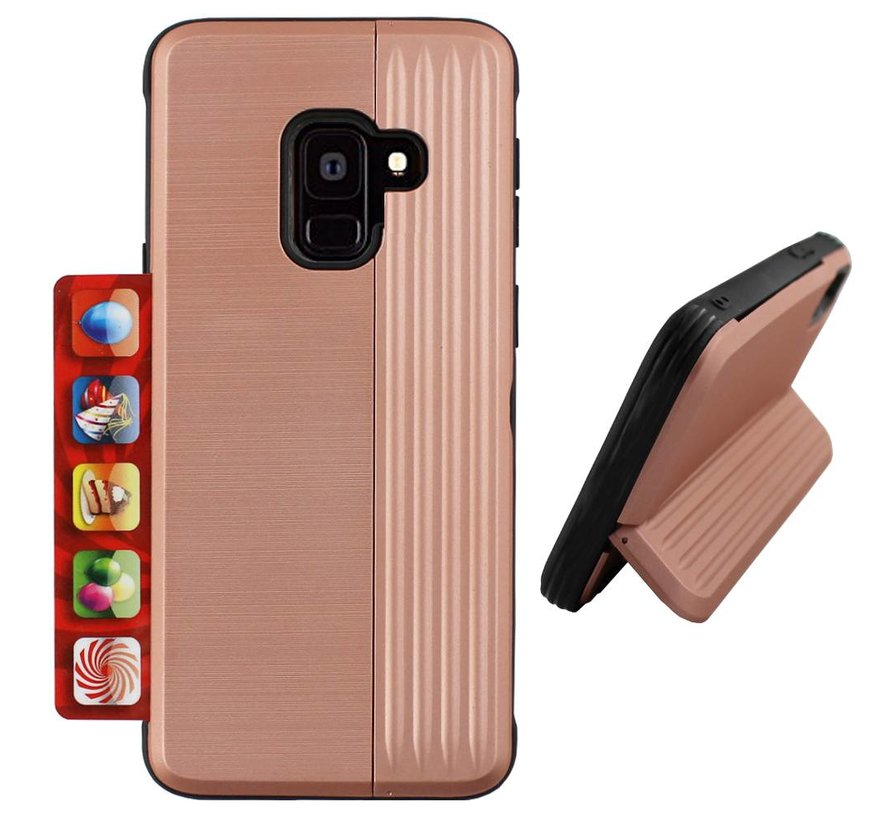 Card Stand Hoesje voor Samsung A6 Plus 2018 Rose Goud