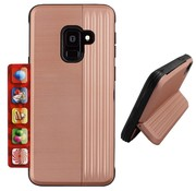 Colorfone Samsung A6 2018 Pink Case Gold - Card Stand