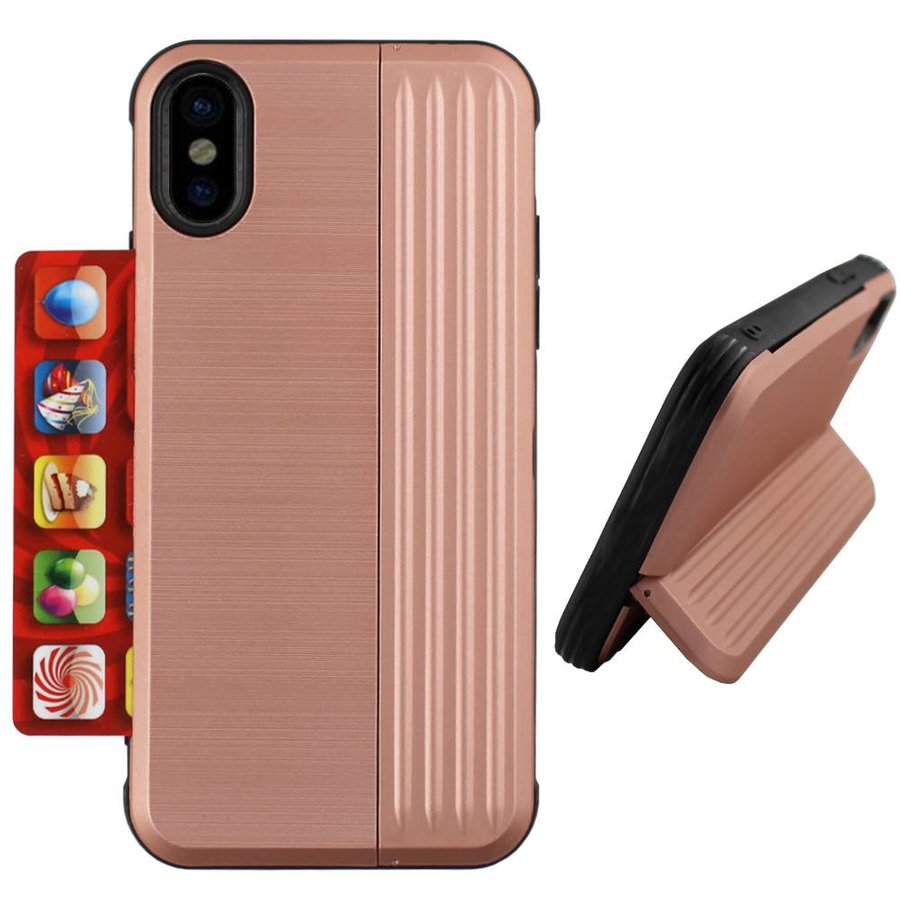 Card Stand Hoesje voor Apple iPhone Xs Max Rose Goud