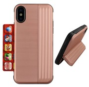 Colorfone iPhone Xr Pink Case Gold  - Card Stand