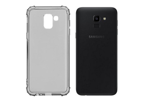 Backcover Shockproof TPU 1.5mm Samsung J6 Plus Transparant Zwart