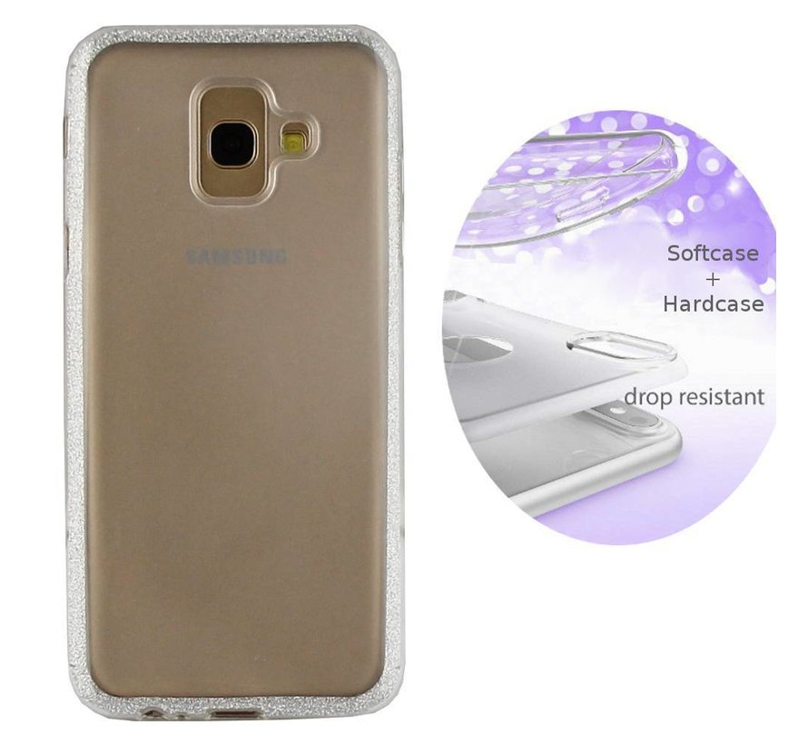 BackCover Layer TPU + PC voor Samsung J6 Plus Zilver