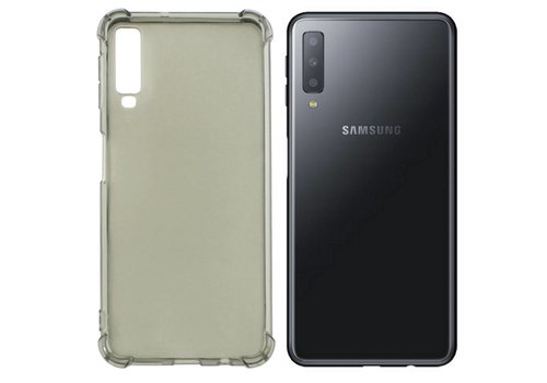 Backcover Shockproof TPU 1.5mm Samsung A7 2018 Transparent Black