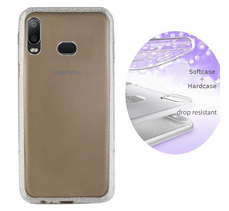 BackCover Layer TPU + PC voor Samsung A6s Zilver