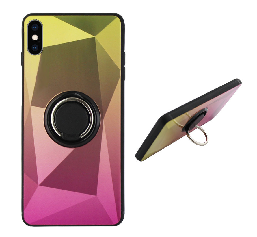 BackCover Ring / Magneet Aurora iPhone Xs Max Goud+Roze
